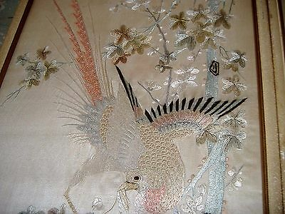 Large Pair Of Antique Chinese Silk Embroidered Panels W/ Birds Flowers Insects
