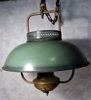"Antique Hanging Electrified Brass Oil Lamp Green Metal Shade Long 114"" Chain"