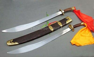 Chinese taiji double broadsword stainless steel blade chicken wing wood scabbard