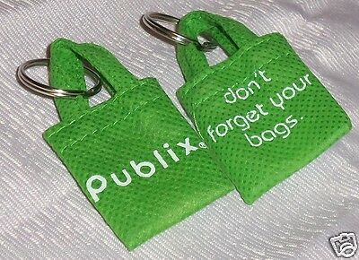 "Lot 2 Mini Grocery Store Shopping Bags Publix ""Don't Forget Your Bags"" Keychain"
