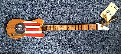 Small Vintage One String Obama '08 Pin Folk Art Electric Guitar Handmade Signed