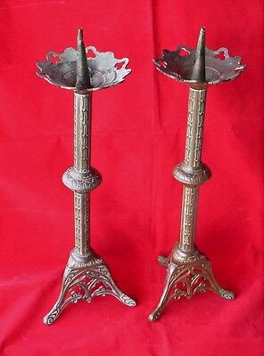Pair Vintage Art Nouveau Brass Church Alter Candlestick Candle Holders French ?