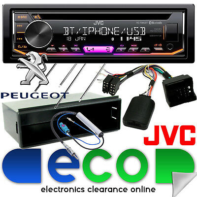 Peugeot 207 2006 JVC CD MP3 USB Bluetooth Car Stereo & Steering Wheel Fascia Kit