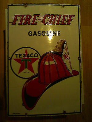 "Vintage 1950'S Texaco Fire Chief Gas Pump Plate 18"" Porcelain Metal Sign"