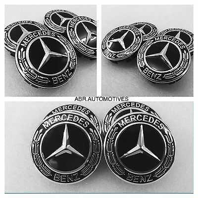 Mercedes Black Alloy Wheel Centre Caps A B C E Class Cla Cls Ml Slk Amg 75Mm