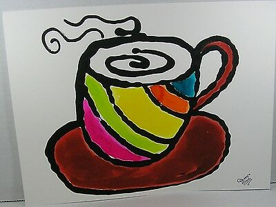 7 Coffee Cup Paintings! Coffee Shop Art ORIGINAL signed Folk Art GinaMarie Art®