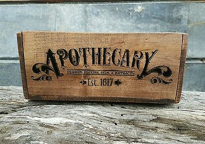 Vintage Style Apothecary Advertising Wood Shipping Crate Storage Box