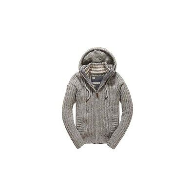 Gilet Superdry Nordic Zip Through Cream Grey Charcoal