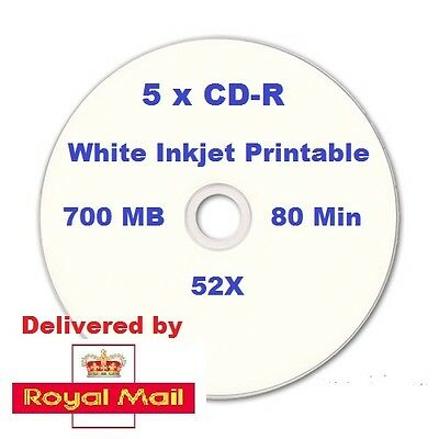 5 CD-R Recordable Empty CDR Blank disc 700MB 80min 52X White Inkjet Printable