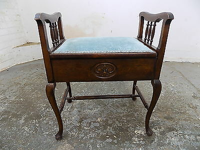 antique,edwardian,mahogany,piano stool,stool,cabriole legs,pad feet,fabric seat
