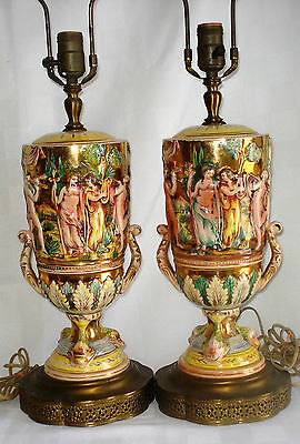 Pair Of Vintage Majolica Figural Nude Tables Lamps