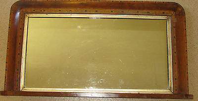 Edwardian wooden framed mirror with marquetry design