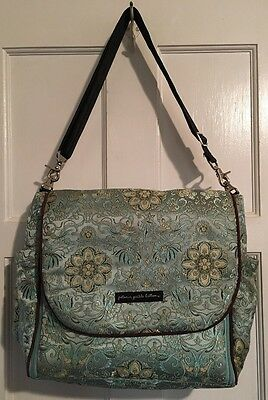 Petunia Pickle Bottom Baby Chic Diaper Bag Blue Gold Floral W/ Changing Pad