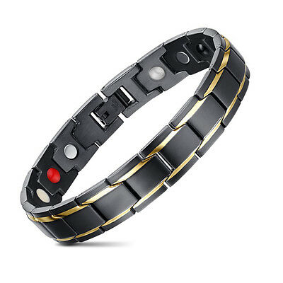 Link Bracelet for Men Stainless Steel Bracelet Magnetic Gold Black Bracelet