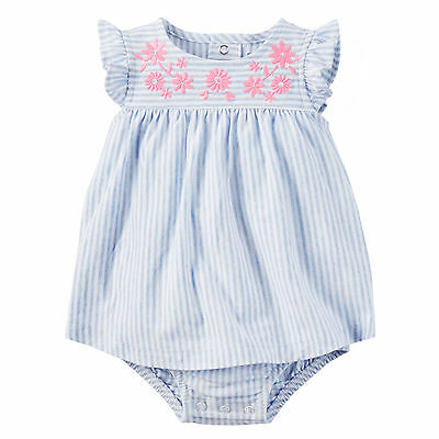 Carters 12 Months Baby Girl Pink Flower Blue Summer Cotton Sunsuit Romper NWT