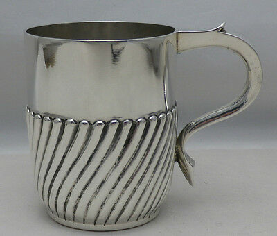 Antique Solid Silver Fluted 1/3 Pint Tankard Mug Mappin & Webb 1898 (577-4-GSY)