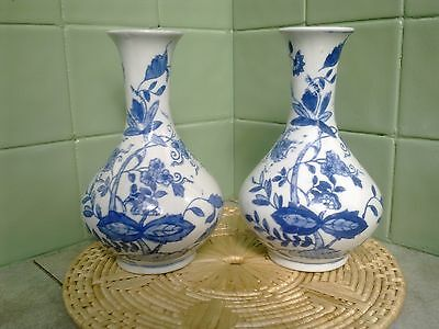 Pair Of Nice Old Chinese Blue And White Bulbous Porcelain Vases,, Mark To Base