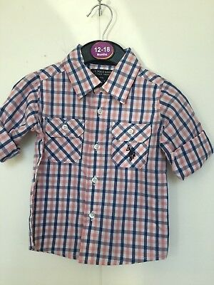BNWOT US Polo Assn. Pink/Blue/White Checked Shirt. Boys. Age 12 Months to 7 yrs