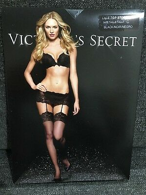 Victoria's Secret Lace Top Thigh Size C Black Stockings Nylons Pantyhose