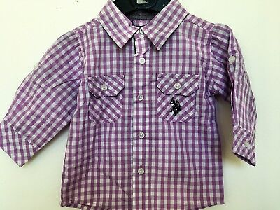 BNWOT US Polo Assn. Purple/White Checked Shirt. Boys. Age 6 Months to 8 yrs