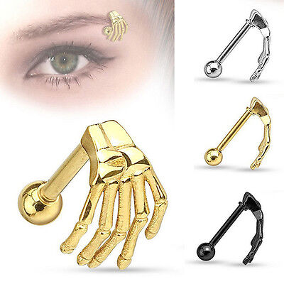 Skeleton Hand Eyebrow Barbell /Cartilage Bar Ear Rings Piercing Jewelry Earrings