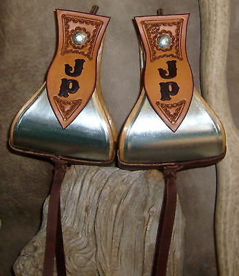 """Wide Custom 5"""" Metal Bound Bell Stirrups, Personalized With Your Initials. G&E"""