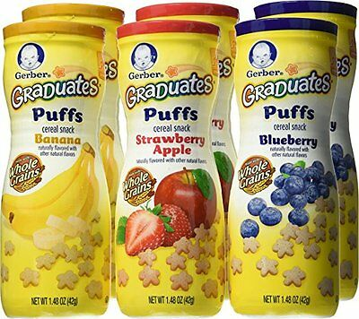 Gerber Graduates Puffs Cereal Snack Baby Food Naturally Flavored 6 Pack Variety