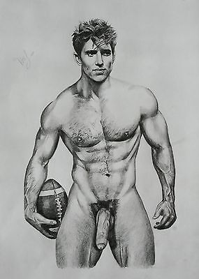 CLASSIC MALE NUDE 1 Gay interest DRAWING.RCA artist. muscle A3 size. by Neil
