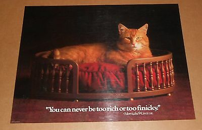 Morris 9-Lives Cat You Can Never be Too Rich or Too Finicky Poster 1983 22x17