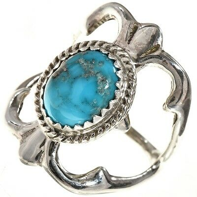 Old Sandcast Design Ladies Turquoise Native American Silver Ring