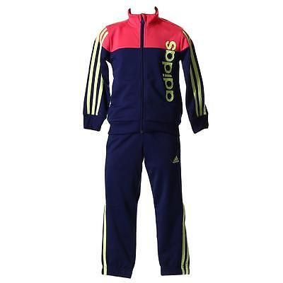 adidas infant pink/navy zip up tracksuit. Jogging suit. Warm up suit. Age 0-10Y
