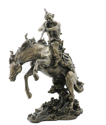 Indian W/ Rifle On Horse Jumping In Water Statue Sculpture Figure - GIFT BOXED