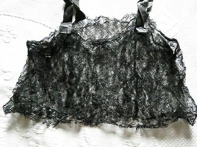 Antique Vintage Black Chantilly Lace Floral Silk Ribbon Night Top remnant fabric