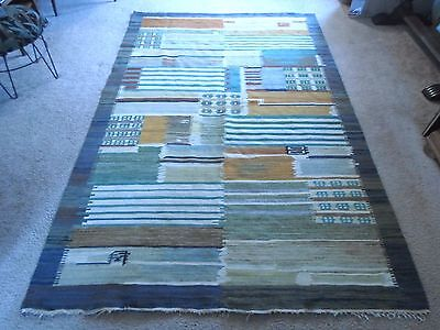 Antique Cepelia Poland Rug Wall Kalim, Tapestry, Carpet Rug Cityscape Signed