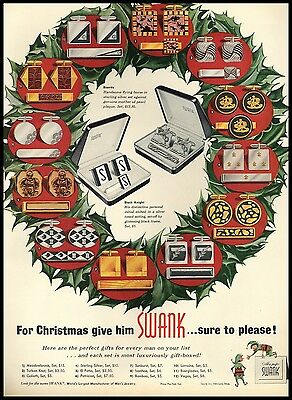 1955 Swank Cuff Links Tie Clip Sets Christmas AD