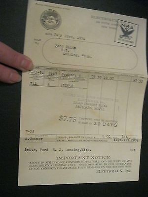 Vintage 1934 Electrolux Receipt NRA Ford Smith Jackson MI Cleaning Lansing 22