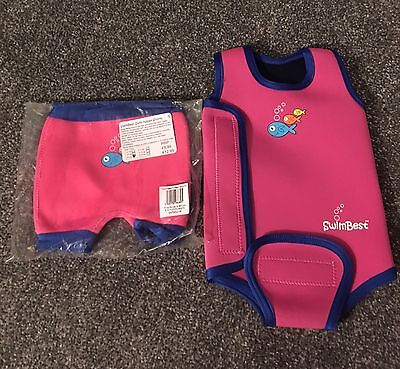Baby Girl Swimsuit And Swim Nappy 6-9 Months. Two Available For Twins.