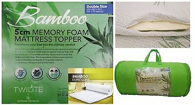 Bamboo Memory Foam Mattress Topper Thick With Zipped Cover All Sizes 1, 2 inch
