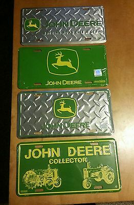 John Deere Embossed Metal License Plate  John Deere Chrome Color Made in USA Set