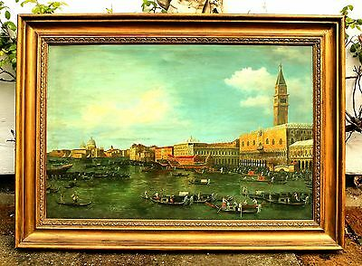 Stunning Large Mid C20th Italian School Oil on Canvas - Aft. Canaletto - Venice