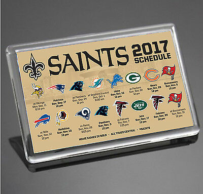 New Orleans Saints 2017 Schedule NFL Super Bowl USA JUMBO SIZE Fridge Magnet