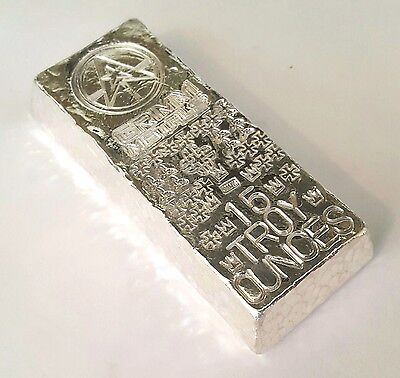 15 Troy Oz .999 Fine Silver Art Bar - Hand Poured - Hand Stamped - Grimm Metals