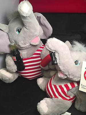 Coca-Cola Plush Elephants in Red & White Bathing Suit - 1983 Lot Of (3)