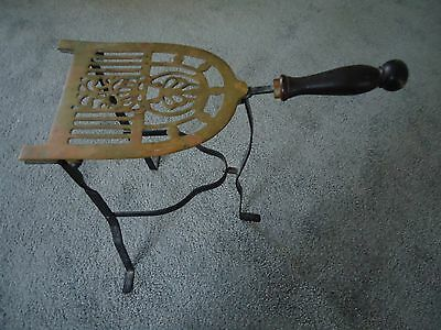 Antique Iron and Brass Folding Firepleace Trivet Stand