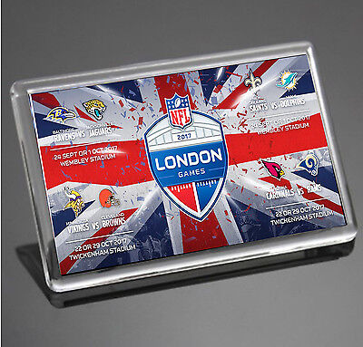 London NFL Schedule 2017 Ravens Jags Saints Miami Vikings Rams Fridge Magnet