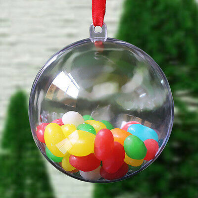 10X Christmas Decoration Round Plastic Balls Transparent Open Baubles Ornaments
