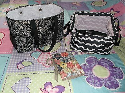 Thirty-One Black White Tote Bag Lot of 2 and Organizer