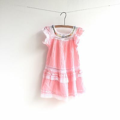 Vintage Boho Peasant Dress Size 2-3T Pink Crochet Embroidered Mexican