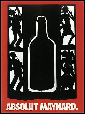 1997 Absolut Maynard Art Silhouette Musicans Absolut Vodka AD