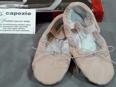 NIB CAPEZIO Asymmetrical (Full Sole) Leather Ballet Shoes Girls 4 M (PINK 435)